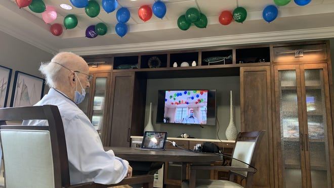 Milton Stier celebrated his 103rd birthday April 20 with a Zoom call, balloons and a special meal prepared by the chef at La Posada, a senior living community in Palm Beach Gardens where Stier has lived for the past 13 years.