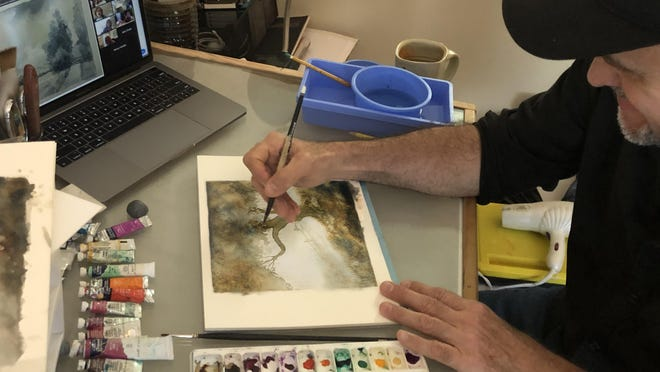 Fernando Porras, art and design consultant at the Lighthouse ArtCenter, recently instructs a virtual watercolor painting class. The art center's campus is currently closed because of the pandemic, but it is offering virtual experiences until it can reopen.
