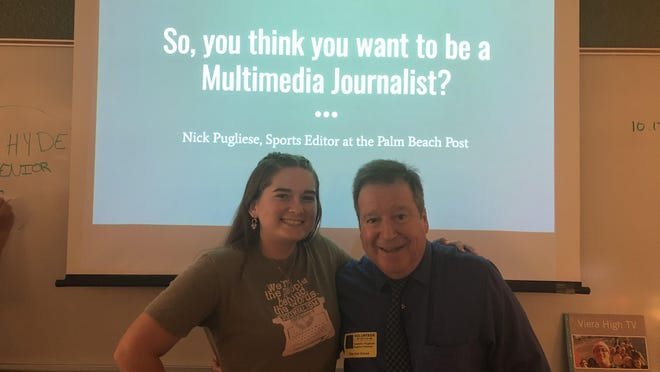 Victoria Pugliese and her dad, Nick, during his yearly visit to the Viera High School TV production classes in September 2019.