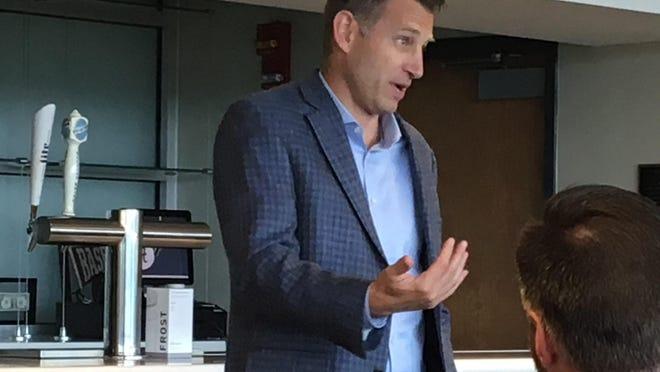 Alabama basketball coach Nate Oats speaks at the Alabama Sports Writers Association luncheon Sunday, June 9, 2019, at Sewell-Thomas Stadium.