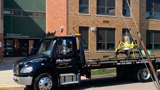 The Barnesville School bell was loaded onto the Stephen Towing truck and relocated back in June.