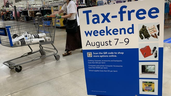 The Florida Back-to-School Tax-Free Holiday began Friday, as shoppers took to the aisles at the Super Walmart store in Ormond Beach. The event runs through Sunday.