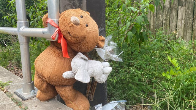 A teddy bear, part of a makeshift memorial for Kassandra Guzman-Ramirez, is seen in the 2500 block of West University Avenue on Sunday. Guzman-Ramirez, a 20-year-old from Weston, died when the vehicle she was riding in crashed into a guardrail and utility pole at that location on Jan. 9.