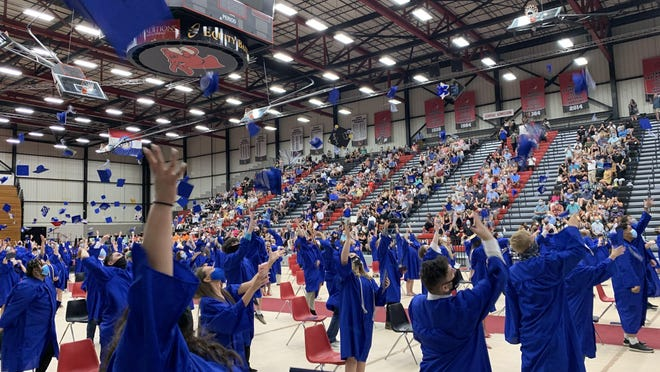 Grain Valley graduates celebrated Friday night at the Multipurpose Building at the University of Central Missouri.