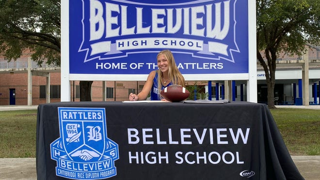 Belleview's Sierra Harris signed her National Letter of Intent to play flag football at Webber University, Wednesday, becoming the first flag football player in Marion County to sign to play at the next level.