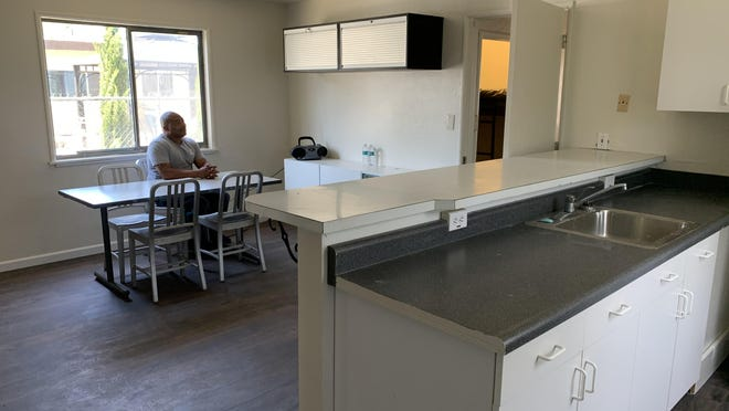 The kitchen area inside the COVID-19 positive quarantine house for homeless men at the Gospel Center Rescue Mission.