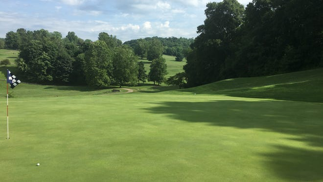 The view down the hill from the No. 11 green at Fire Ridge.