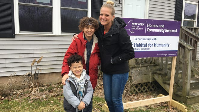 While restrictions around COVID-19 still apply, home construction is back for Ontario County's Habitat for Humanity. One project in Shortsville is for Jana and her two sons (pictured), which is currently underway.