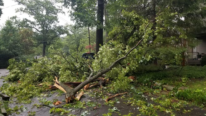 Downed trees and power lines throughout North Jersey have caused power outages to hundreds of thousands of homes.