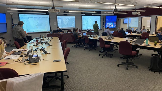 Staff at work in New Hanover County's Emergency Operations room.