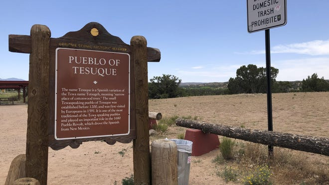 A sign marking the land of Tesuque Pueblo of New Mexico is shown. The Native American tribe in northern New Mexico has opened up a movie studio at the site of a former casino aimed at attracting big productions in what is believed to be a first by a Indigenous tribal government in the U.S.