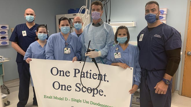 From left, Christian Kammerman, Boston Scientific, Rebecca Newman, RN, Heather-Lynn Sullivan, RN, Mitchell Moore, RN, Dr. Maurits Wiersema, Angel Carr, RN, Taylor Gentry, Boston Scientific.