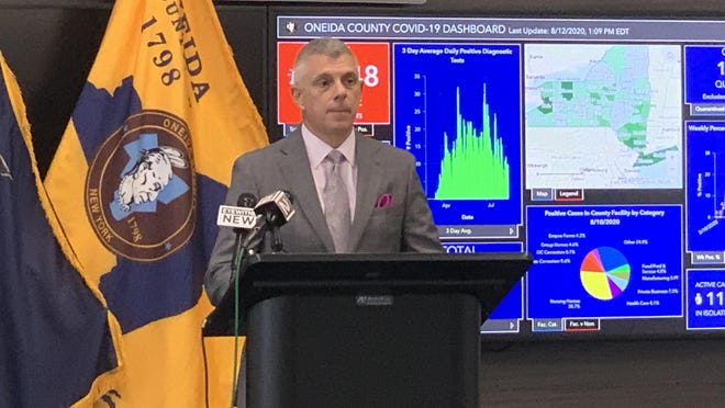 Oneida County Executive Anthony Picente discusses COVID-19 numbers and the reopening of schools in the county during a media briefing Wednesday at the Oneida County Office Building in Utica.