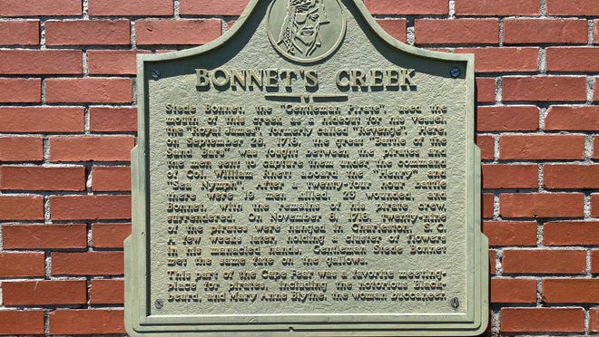 The plaque memorial to the pirate Stede Bonnet, who was captured by South Carolina authorities after a brief skirmish on a creek in future Southport in 1718. The creek is now known as Bonnet's Creek.