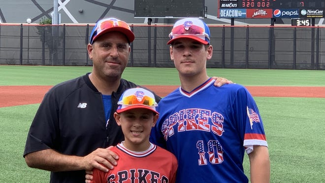 Green's Frank Micale (left) is pictured with his sons, Andrew (right) and Anthony (center). Frank spearheaded the efforts for a Federal League Senior All-Star Baseball Game, which will be Aug. 1 at Jackson. Andrew will play for Team American.
