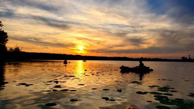 Kayaking at sunset on the Nimisilla Reservoir.