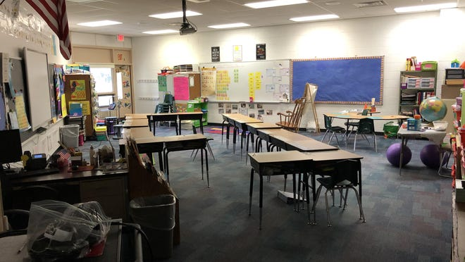 A classroom at Marian E. McKeown Elementary School sits empty Tuesday, March 17. The school is set to reopen next week, though members of the Hampton Teachers Education Association have expressed concerns about the air quality of the building.