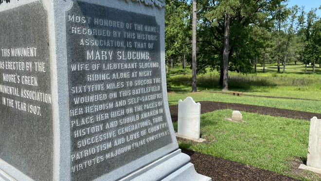 The story of Mary Slocumb's ride is etched on the side of the Women of the American Revolution monument at Moores Creek National Battlefield in Currie.
