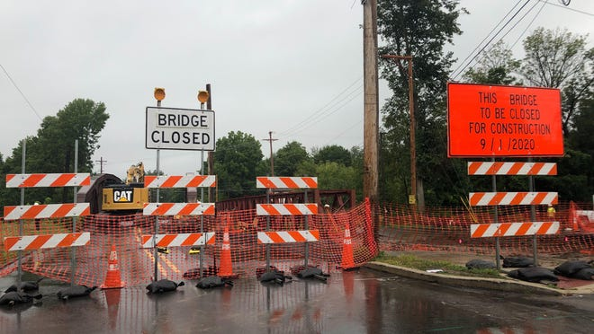 East Stroudsburg's Ridgeway Street bridge was closed off on Tuesday as H&K Group, Inc. continued work on replacing the 88-year-old structure. PennDOT anticipates the replacement to be completed by July 2021.