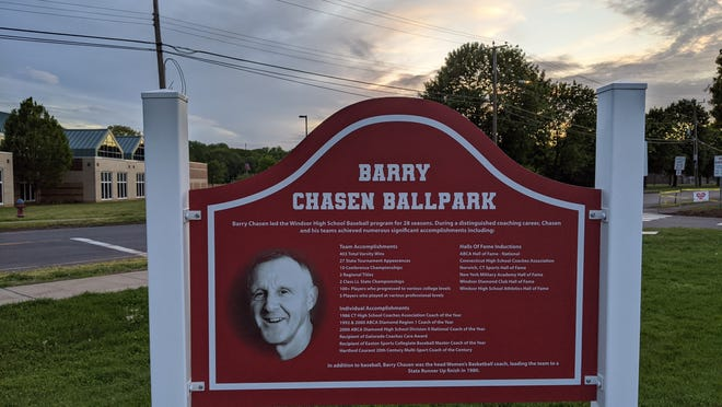 The Windsor Town Council recently voted to name the high school baseball field in honor of legendary coach and former Norwich native Barry Chasen.