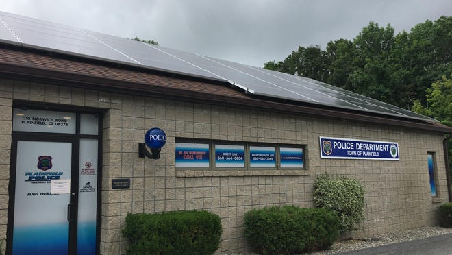 Solar panels added last year to the Plainfield police station.