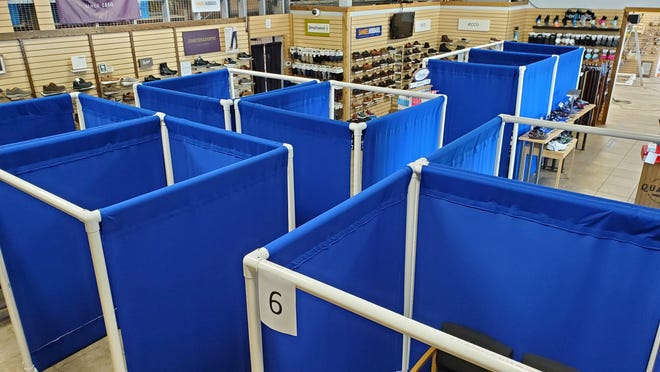 When Karavel Shoes closed in March due to the coronavirus pandemic, owner Rick Ravel immediately began thinking about what reopening the store, which specializes in comfort footwear and orthotics, would look like. The answer includes cubicles made of PVC piping and fabric.