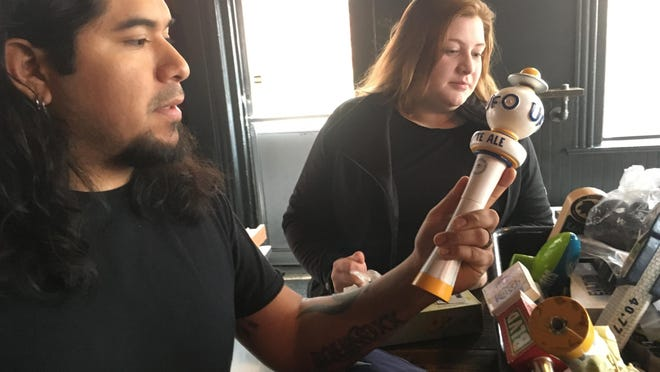 "Julio Cancho, left, is owner and head chef of Canggio Restaurant and Bar and co-owner of 86'd Bar in Norwich with Morgana Vesey, right. Cancho will appear Tuesday night on the Food Network chef competition show, ""Chopped."""