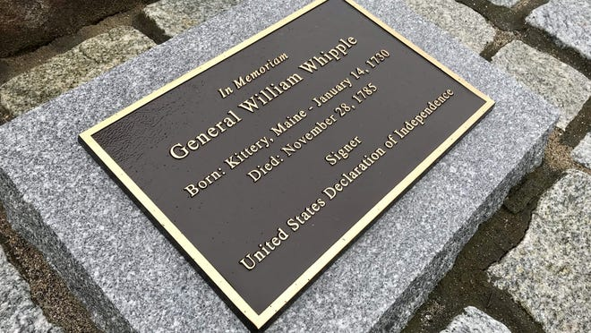 A memorial in Kittery honoring Gen. William Whipple, a signer of the Declaration of Independence.