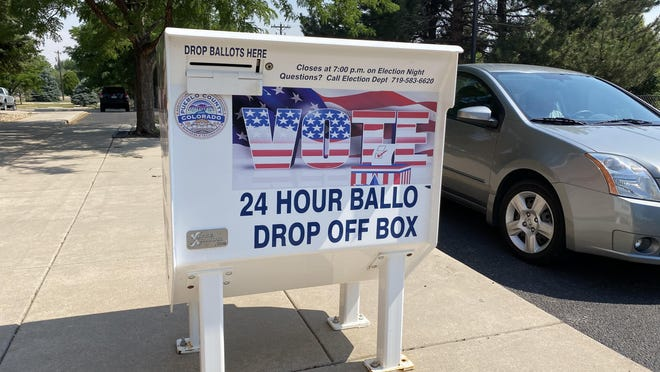 """24-hour ballot drop-off boxes like this one at the Lamb Branch Library, 2525 S. Pueblo Blvd., will be open until 7 p.m. Tuesday. Pueblo County Clerk and Recorder Gilbert """"Bo"""" Ortiz said it is too late to mail in ballots."""