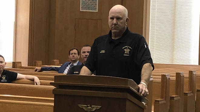 Grayson County Sheriff Tom Watt addresses county commissioners Tuesday about the number of COVID-19 positive jail inmates and staff [Jerrie Whiteley / Herald Democrat}
