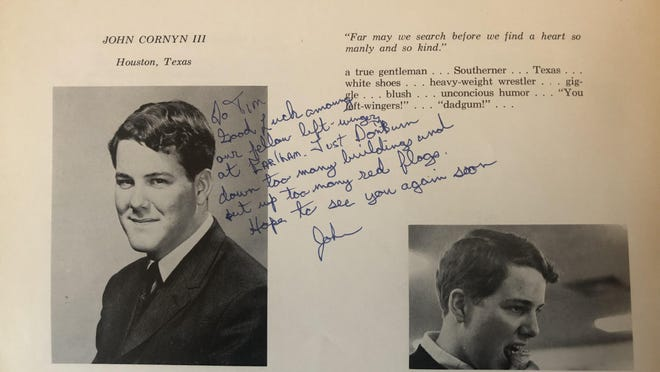 "John Cornyn wrote in the senior yearabook of his classmate and ideological opposite Tim Shorrock, ""Good luck among your fellow left-wingers at Earlham. Just don't burn down too many buildings and put up too many red flags."""