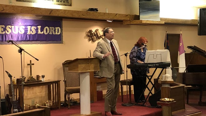 Bill Meyerholtz, pastor of Miracle Covenant Church, speaks during Friday's Patriot Day service.