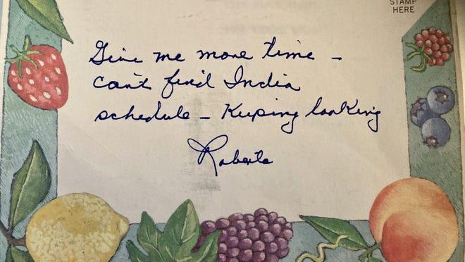A postcard that Roberta McCain, mother of the late U.S. Sen. John McCain, sent to American-Statesman staffer Ken Herman in 2007.