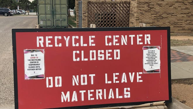 A sign where Tech's old recycling center was located says it's closed until further notice.