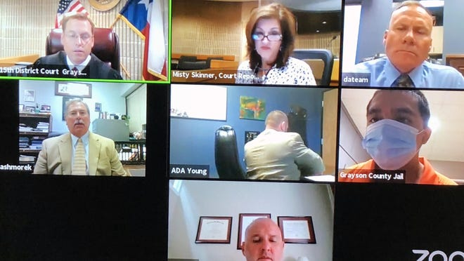 A screenshot shows the participants in recent ZOOM hearing held in the 15th state district court in Grayson County. Judge Jim Fallon, in the upper left corner, reset the hearing after Antonio Prado, second row right corner, requested that change. Also pictured are, in the top row middle is, court reporter Misty Skinner, and to her right, Texas Ranger Brad Oliver. On second row far left, Grayson County Assistant District Attorney Kerye Ashmore. To Ashmore's right is Assistant GC District Attorney Nathan Young, and on the bottom row is Sherman attorney Rick Dunn.