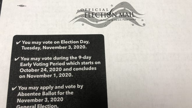 This postcard sent in the mail to all registered voters in Ontario County gives details about voting in the Nov. 3 election.