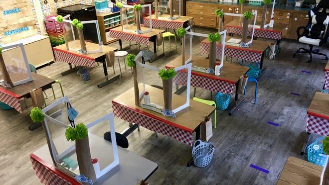 At Killingly Central School, first-grade teacher Jessica Tavernier-Flagg decorated desks like picnic areas.