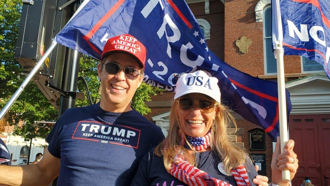 Alan Forbes and Christine Jankins of Portsmouth organized Sunday's President Donald Trump supporters rally in Portsmouth Market Square. They said they want to give voice to Trump supporters.