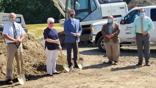 Millbury town officials and school administrators kicked off the renovation of the $4.95 million athletic field at the junior/senior high school with a groundbreaking ceremony Tuesday, June 16, 2020.