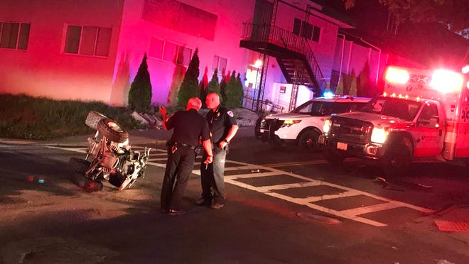 A car and an ATV collided at Beacon and Hammond streets in Worcester on Wednesday night. The rider of the ATV was taken by ambulance to a local hospital.