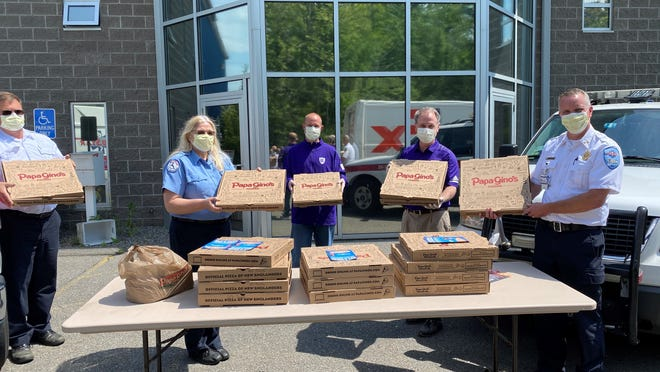 Papa Gino's donates meals to MedStar Ambulance, feeding crews in Leominster and Worcester on Wednesday, June 3 as part of D'Angelo and Papa Gino's Everyday Heroes Program benefitting individuals fighting the outbreak of COVID-19.
