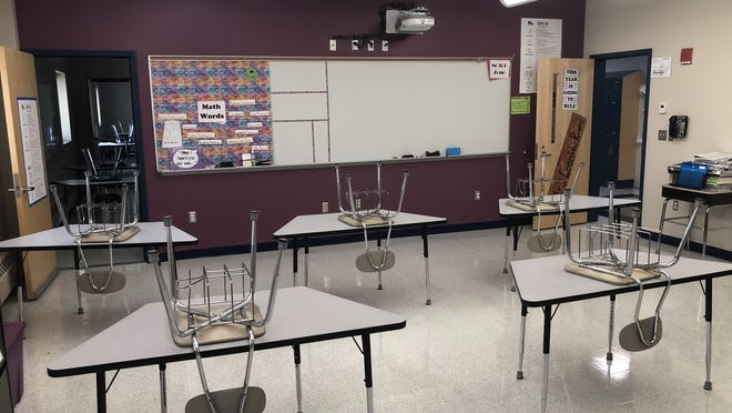 This is an example Sizer School classroom arranged to accommodate hybrid learning while allowing for required social distancing guidelines.
