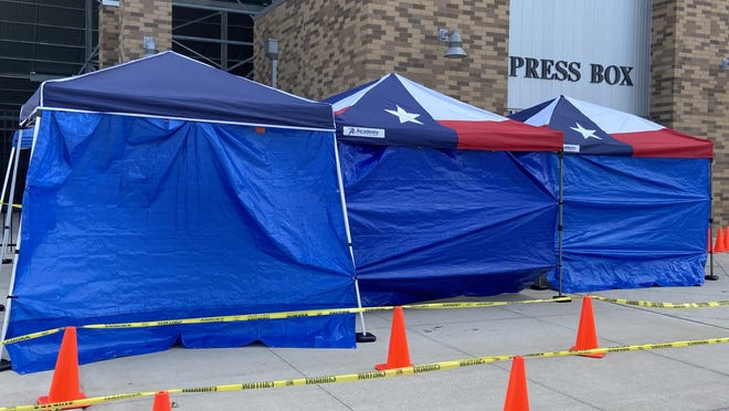 Testing has been conducted in these tents at the Pfield since late July Pflugerville's testing site will move to 103 North Railroad Avenue on Saturday, Sept. 26 because of the start of football season.