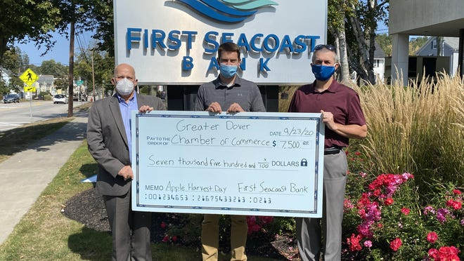 Tom Wilhelm, left, vice president and loan operations manager at First Seacoast Bank, is with Morgan Faustino, center, community events manager for the Greater Dover Chamber of Commerce, and Jean Tremblay, senior vice president and senior retail loan officer at First Seacoast Bank.