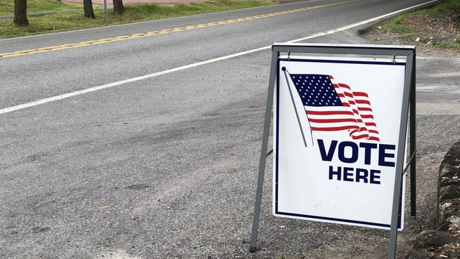 A sign marks the location of the polling place at the Mountain View Park Heritage Center in Tannersville on Tuesday, June 2, 2020.