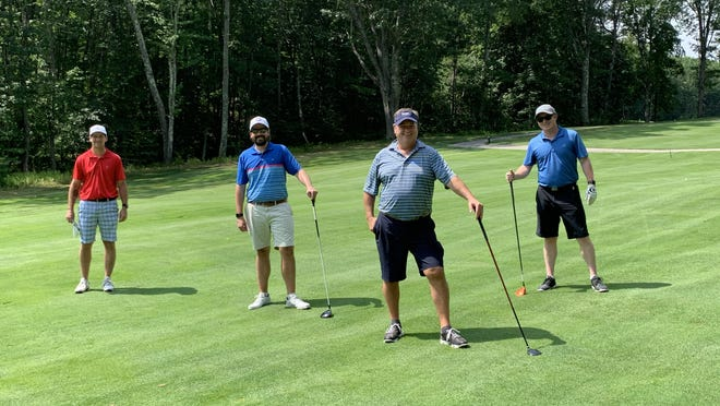 From left, Josh Trivilino, Richie Stover, Michael Whitman and Eric Beauregard made up the winning foursome in the 26th annual Wentworth-Douglass Hospital Charity Classic held last month.