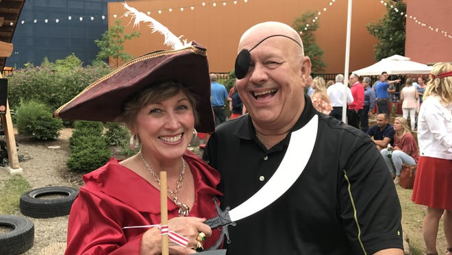 Pam and Kim Parker dressed as pirates for a Street Soiree fundraiser for Experience Children's Museum in 2017.