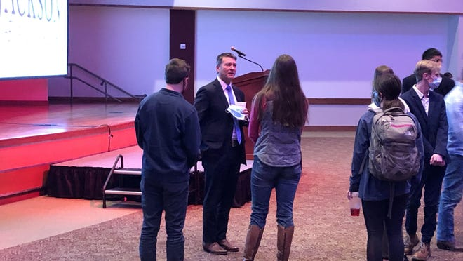 District 13 Republican candidate Ronny Jackson speaks with West Texas A&M University students after participating in a student forum Monday afternoon.