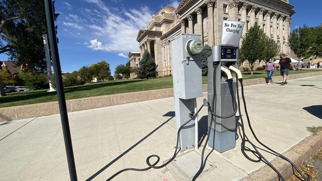 Pueblo County wants to add more electric vehicle chargers like this one outside of the historic courthouse as part of a plan to bring more electric vehicles into the community. Officials say the new stations would charge vehicles a lot faster than this one.