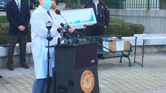 Dr. William Horgan, medical director of quality and safety at Backus Hospital, showed a chart Thursday reflecting the percentage of positive COVID tests given at their drive-through testing site outside the hospital.